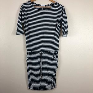 81f55be644 Numoco Black White Stripe Tunic Stretch Dress S